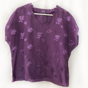 Vintage Pruple Floral Short Sleeve Top Size 16